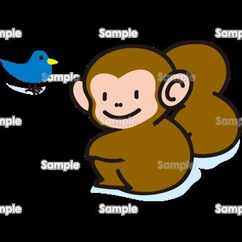 猿と青い鳥 無料イラスト 年賀状プリント決定版 2020
