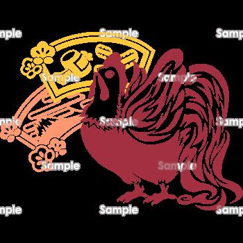 切り絵風の尾長鶏と小槌富士 無料イラスト 年賀状プリント決定版 2020