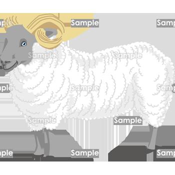 角の長い羊 無料イラスト 年賀状プリント決定版 2020