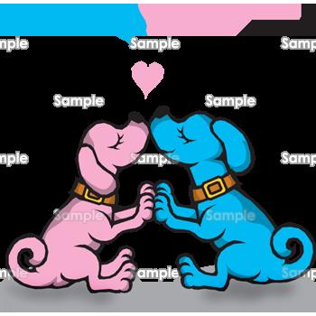 ラブラブな犬たち 無料イラスト 年賀状プリント決定版 2020