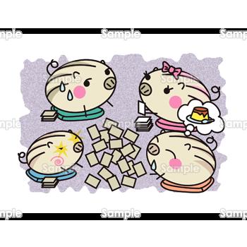 かるた遊びをするウリ坊たち 無料イラスト 年賀状プリント決定版 2020