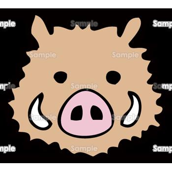 正面顔の猪 無料イラスト 年賀状プリント決定版 2020