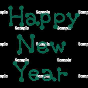 モスグリーンのペン字風 Happy New Year 無料イラスト 年賀状