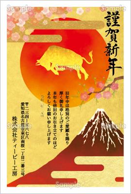 年賀状プリント決定版「赤富士と初日の出-ビジネス年賀状」